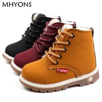 MHYONS child snow boots shoes for girls boys boots fashion soft bottom baby girls boot 21-30 autumn winter child boots shoe