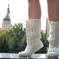 Crochet Boots Shoes for the Street Woman Boho Style Made to Order Lace Boots