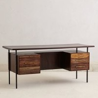 Rustic Wood Desk by Anthropologie Brown One Size Furniture