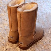 UGG Trending Women Men Winter Warm Snow Boots Classic Boots Wool Fur Boots High Boots Shoes Brown I