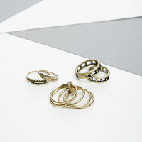 Feather Weather Ring Set - Bronze
