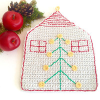 Crochet Christmas House HotPad, Coaster,
