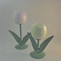 Tulip Candle Holders, Vintage Flower Candlesticks, Ceramic Glass Tulips, Metal Flower Table Centerpiece, 1970's Flower Decor Set