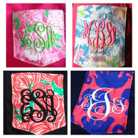 Lilly Pulitzer Monogrammed Pocket LONG Sleeve T Shirt