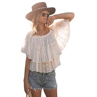 Boho Off The Shoulder Tiered Ruffle Top by Lovestitch