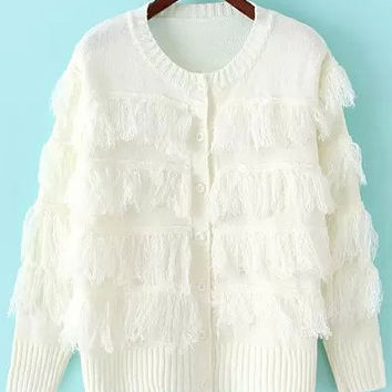 Beige Long Sleeve Fringed Knit Cardigan