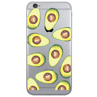 Avocado Collage Dense Soft Silicone TPU Clear Transparent Phone Back Case Cover for iPhone 5 5s 6 6s 7 7 Plus