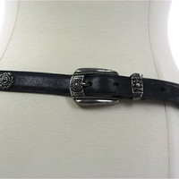 Southwestern Boho silver studded black leather belt