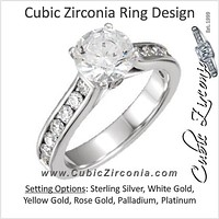 Cubic Zirconia Engagement Ring- The Erian (Customizable Carat Size Round Cut with Accented Band & Peekaboos)