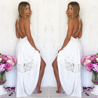 Sexy Women Maxi Long Lace Cocktail Evening Party Summer Beach Backless Dress = 5617195841