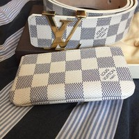 Louis Vuitton Damier Azur Belt And Wallet