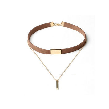 Luxury Velvet Choker - Brown with Gold Pendant