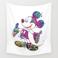 Mickey Mouse Watercolor Wall Tapestry by Bitter Moon