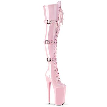 "Beyond 3028 Baby Pink Patent 10"" Heel Thigh High Boots"