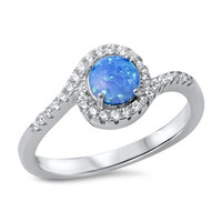 925 Sterling Silver CZ Simulated Diamond and Lab Blue Opal Round Center Flowing Around Halo Ring 9MM