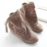 2016 New Fashion Big size 43 Summer Boots Women Flock Flat shoes Low Hidden Wedges Solid Cut-outs Ankle Boot Ladies Casual Shoes