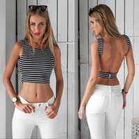 2017 Summer Sexy Tank Tops Striped Vest  Sleeveless Clothes Fashion Cropped Tops for Women T Shirt Backless Crop Top