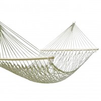 Adeco White Woven Rope Outdoor Hammock Chair with Spreader Bar