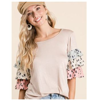 Adorable Tiered Ruffle Sleeve Taupe Top