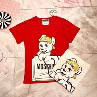 """Moschino"" Unisex Cute Cartoon Puppy Letter Pattern Print Couple Short Sleeve Cotton T-shirt Top Tee"