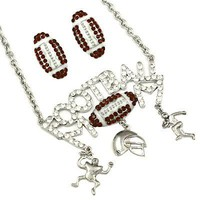 *[N/LS]-Blinged Out Proud Football Mom Necklace Set