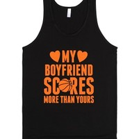 My Boyfriend Scores More Than Yours (Basketball)-Unisex Black Tank