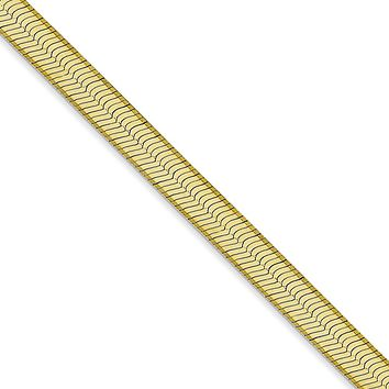 5mm 10k Yellow Gold Solid Herringbone Chain Necklace