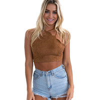 Vintage Brown Faux Leather Suede Cropped Tank Top Sexy Lace Up Camis Women Tops Slim Cami Party Crop Top Spring Vest