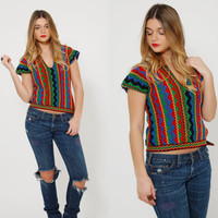 Vintage 70s Colorful STRIPE Knit Crop Sweater HIPPIE Knit Top Vintage 70s Jumper ETHNIC Woven Top