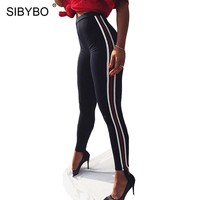 Sibybo Striped High Waist Casual Pants Women Autumn Winter Skinny Elastic Waist Fitness Women Pants Black Ladies Legging Pants