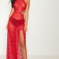 Red Sheer Lace Strappy Back Maxi Dress