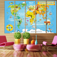 LARGE World Map Panels Poster Decor Canvas World Map Print / Multi Panel Wall Art World Map for Home & Office Wall Art / Kids World Map