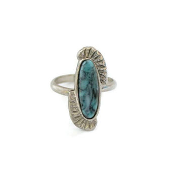 Southwestern Boho Faux Turquoise Ring,  In Silver Tone, Adjustable