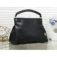 """LV"" Louis Vuitton Fashion ladies black embossed handle large capacity handbag shoulder bag shopping bag"
