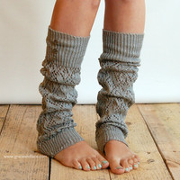 LouLou  light grey Openwork Leg Warmers with by GraceandLaceCo