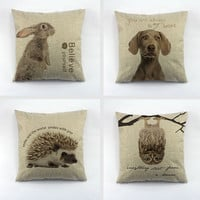 Animal series The rabbit dogs owl hedgehog printed cushion cover linen polyester throw pillow case cushion cover for home