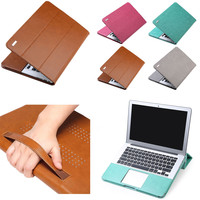 "PU Leather Bag Laptop Case Cover Flip Stand For 11""12""13""15"" MacBook Air/Pro/Retina Sleeve Luxury Leisure Laptop Bags & Cases"