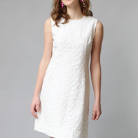 Rare 1960s Waffle Knit White Shift Dress- Size L