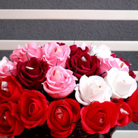paper flower, paper roses, red roses, crepe paper, flower paper, roses paper, pink flower, sweet gift, sweet floral, candy flower, gift idea