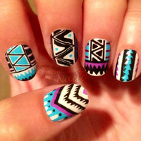 Tribal Fringe Nail Decal Wraps. Nail Art. by CompulsiveNails