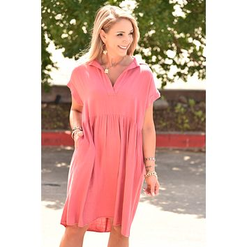 Ready To Go Dress - Coral
