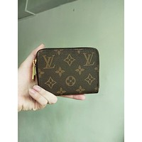 LV tide brand female zipper small card package Coffee print