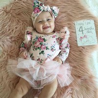 Baby Flower Princess Dress Fashion Cotton Newborn Girl Romper Long Sleeves Pink Infant Overall Dresses Christmas Clothes