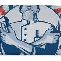 Bath Mat, Barber With Pole Hair Clipper And Scissors Retro