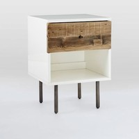 Reclaimed Wood + Lacquer Nightstand