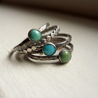 Set of 5 Natural Turquoise Stacking Rings in Antiqued Sterling Silver