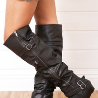 Bamboo Tamara50 Black Low Wedge Over The Knee Boots shop Boots at MakeMeChic.com