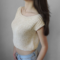FREE SHIPPING Pure cotton crop top Ivory knit blouse Knit womens short blouse Crop tank Summer top Short sleeve cropped blouse Bohemian top