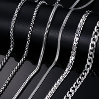 Mens Meaeguet Stainless Steel Snake Silver Plated Necklace