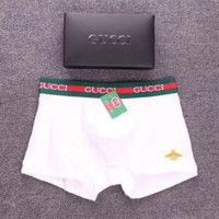 GUCCI New fashion men letter and side bee print underwear shorts White